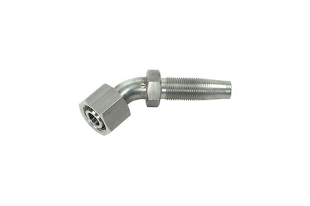 Reusable Hydraulic Hose Insert - 45° Elbow - BSP 60° Cone and Swivel Nut - Stainless DKR product photo