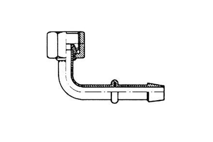 Lagedruk slangpilaar - 90° bocht met 60° dichtkegel - metrisch product photo