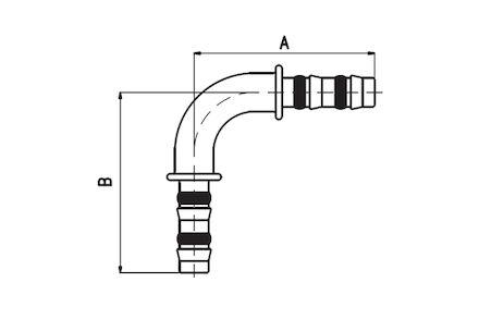 Koeling/airco slangkoppeling - 90° bocht product photo