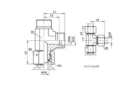Złączka do Rur Metrycznych 24° DIN 2353 - Nastawny TRÓJNIK Niesymetryczny - seria Ciężka product photo