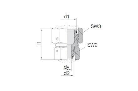 Snijringverbinding 24° - DIN 2353 - koppeling recht met wartel - serie Zwaar product photo