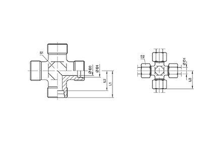 Złączka do Rur Metrycznych 24° DIN 2353 - Czwórnik - seria Ciężka product photo