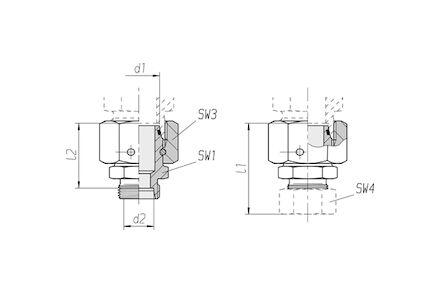 Snijringverbinding 24° - DIN 2353 - reduceerkoppeling met wartel - serie Zwaar product photo