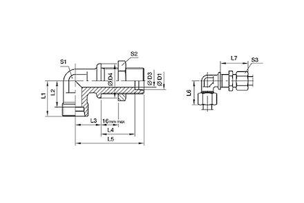 Złączka do Rur Metrycznych 24° DIN 2353 - Grodziowa 90° - seria Ciężka product photo