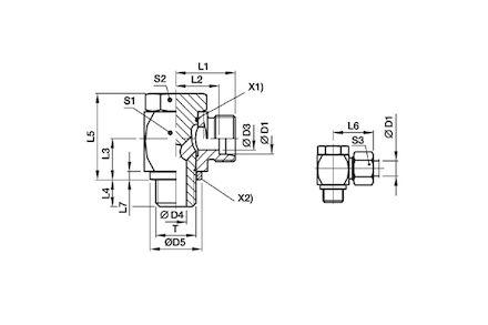 Snijringverbinding 24° - DIN 2353 - 90° banjokoppeling metrisch - serie Zwaar product photo