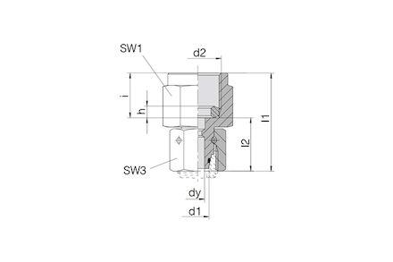 Snijringverbinding 24° - DIN 2353 - meetkoppeling BSP met wartel - serie Zwaar product photo