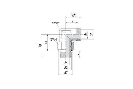 Snijringverbinding 24° - DIN 2353 - instelbare knie-inschroefkoppeling BSP met O-ring en retaining ring - serie Zwaar product photo