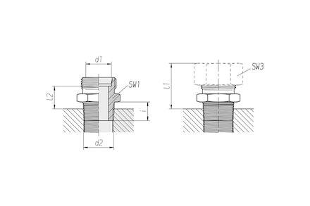 Připojovací adaptér GE pro metrické trubky 24° DIN2353 závit NPT těžká řada product photo