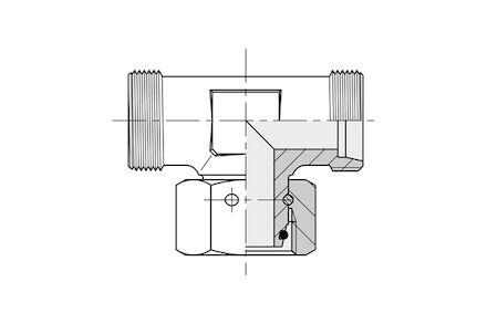 Snijringverbinding 24° - DIN 2353 - instelbare T-koppeling male - serie Zwaar product photo