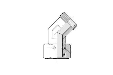 Snijringverbinding 24° - DIN 2353 - 45° instelbare kniekoppeling - serie Zwaar product photo