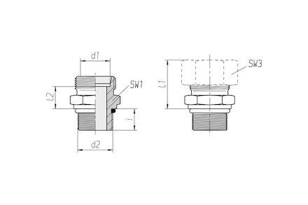 Snijringverbinding 24° - DIN 2353 - SAEUNFUN inschroefkoppeling met O-ring - serie Zwaar product photo