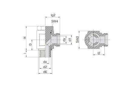 Snijringverbinding 24° - DIN 2353 - 90° banjokoppeling BSP - serie Zwaar product photo