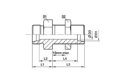 Snijringverbinding 24° - DIN 2353 - schotverbinding recht - serie Zwaar product photo