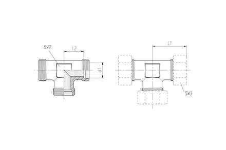 Snijringverbinding 24° - DIN 2353 - T-verbindingskoppeling - serie Zwaar product photo