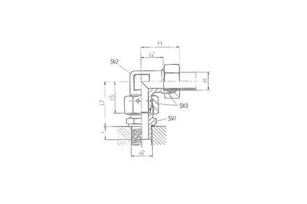 Snijringverbinding 24° - DIN 2353 - 90° instelbare kniekoppeling BSP male - serie Zwaar product photo