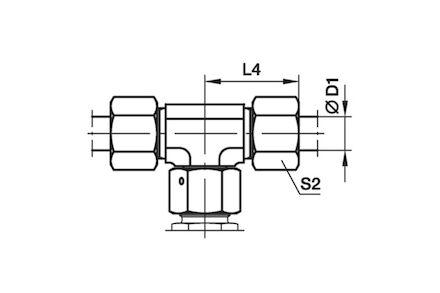 Trójnik Symetryczny do Rur Metrycznych 24° DIN 2353 - seria Lekka product photo