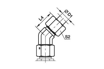 Snijringverbinding 24° - DIN 2353 - 45° instelbare kniekoppeling reduceer - serie Zwaar product photo