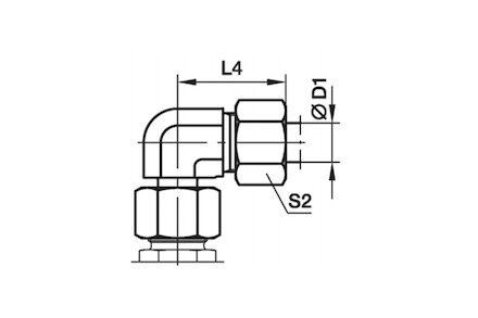 Snijringverbinding 24° - DIN 2353 - 90° instelbare kniekoppeling reduceer - serie Licht