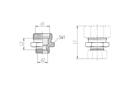 Snijringverbinding 24° - DIN 2353 - reduceerkoppeling recht - serie Licht product photo