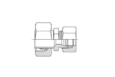 Snijringverbinding 24° - DIN 2353 - verloopkoppeling recht male met zeskant serie Licht product photo