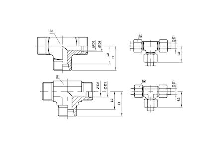 Snijringverbinding 24° - DIN 2353 - T-verbindingskoppeling - serie Licht product photo