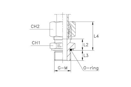 Snijringverbinding 24° - DIN 2353 - BSP inschroefkoppeling met O-ring en retaining ring - serie Licht