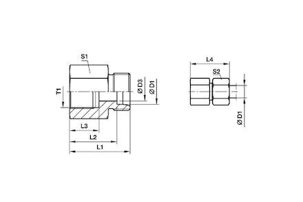 Przyłączka PROSTA do Rur Metrycznych 24° DIN 2353 - BSP ŻEŃSKA - seria Lekka product photo