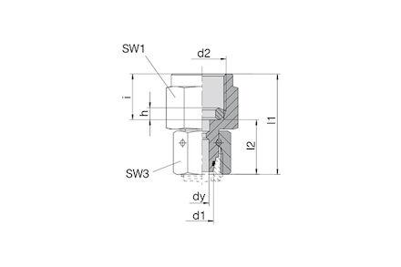 Snijringverbinding 24° - DIN 2353 - meetkoppeling BSP met wartel - serie Licht product photo