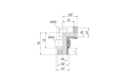 Snijringverbinding 24° - DIN 2353 - 90° instelbare inschroefkoppeling BSP met O-ring en retaining ring - serie Licht