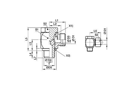 Snijringverbinding 24° - DIN 2353 - 90° banjokoppeling BSP met holbout en elastomeer afdichting - serie Licht product photo