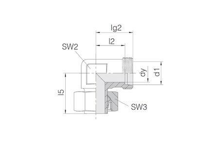 Snijringverbinding 24° - DIN 2353 - 90° instelbare inschroef kniekoppeling - serie Licht product photo