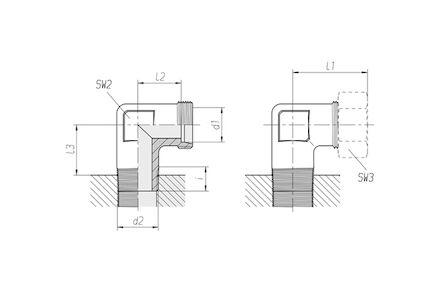 Kolanko przyłączeniowe 90° do Rur Metrycznych - DIN 2353 - BSPT MĘSKIE - seria lekka product photo