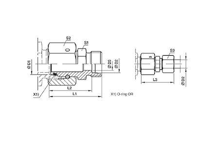 Snijringverbinding 24° - DIN 2353 - reduceerkoppeling met wartel - serie Licht product photo