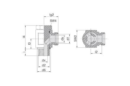 Snijringverbinding 24° - DIN 2353 - 90° banjokoppeling metrisch met holbout en elastomeer afdichting - serie Licht product photo