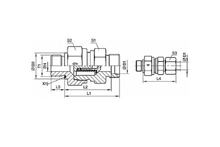 Snijringverbinding 24° - DIN 2353 - terugslagklep inschroefkoppeling met peflex dichting - serie Licht product photo