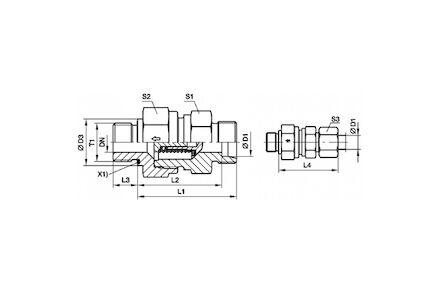 "Snijringverbinding 24° - DIN 2353 - terugslapklep inschroef koppeling BSPP draad - ED-afdichting (ISO 1179) / 24° conus 28L R1"" 2,0 Bar"