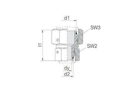 Snijringverbinding 24° - DIN 2353 - koppeling recht met wartel - serie Licht product photo