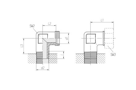 Snijringverbinding 24° - DIN 2353 - 90° knie-inschroefkoppeling 24° conus / BSPT tapse draad