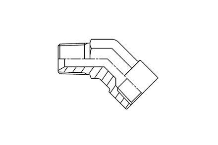Hydrauliek adapter - 45° kniekoppeling male NPTF/female NPTF product photo