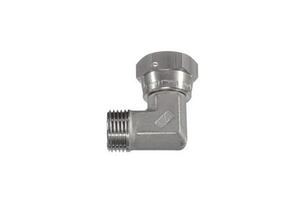 Hydrauliek adapter RVS - Gebogen BSP female met wartel/BSP male vaste binnendraad met 60° conus product photo