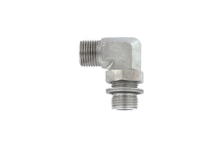 Hydrauliek adapter RVS - 90° male inschroefkoppeling gebogen - BSP - male - met O-ring en retaining ring product photo