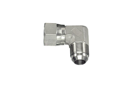 Stainless Hydraulic Adaptor - 90° ELBOW ADAPTOR JIC MALE 74° CONE JIC FEMALE 74° CONE SEAT (SAE J514) product photo