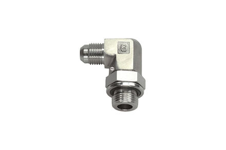 Hydrauliek adapter RVS - 90° gebogen instelbare adapter JIC male 74° conus (SAE J514) BSP male O-ring Boss type (ISO 1179-3) product photo