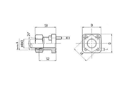 Pompflens met pijpopname 24° - met moer en snijring - serie Licht 315bar product photo