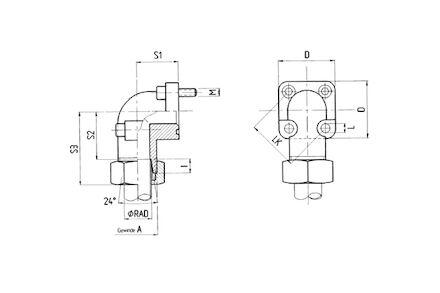Pompflens met pijpopname 24° - met bouten metrisch , O-ring, snijring en moer - serie Zwaar 245 bar product photo