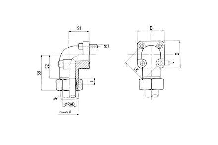 Pompflens verbinding 90˚ met pijpopname 24° - serie Zwaar - met bouten metrisch en O-ring product photo