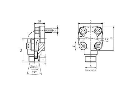 Flensverbinding 90° voor 24° DIN 3901 pijpverbinding - serie Zwaar product photo