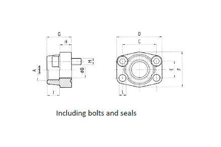 PORT ASSEMBLY SAE FLANGE 3000 PSI - BSP FEMALE thread - with O-ring product photo