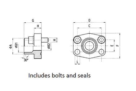SAE aanlasflens pijp metrisch - 6000 psi - met bouten en O-ring - 38x6 pijp