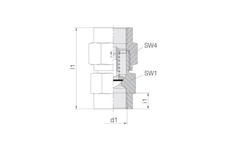 Terugslagklep - BSP binnendraad - openingsdruk 1 bar - NBR O-ring product photo